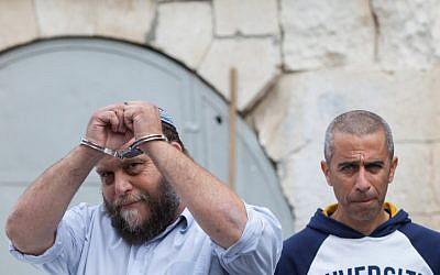 Lehava head Bentzi Gopstein at the Jerusalem Magistrate's Court in Jerusalem on December 18, 2014. (Yonatan Sindel/Flash90)