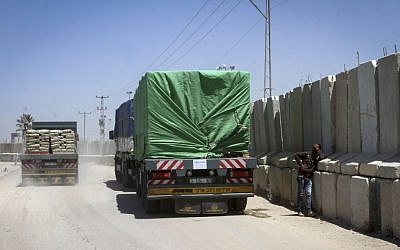 File: A truck carrying cement is seen after it entered the southern Gaza Strip from Israel through the Kerem Shalom crossing in Rafah, on April 29, 2015. (Abed Rahim Khatib/Flash 90)