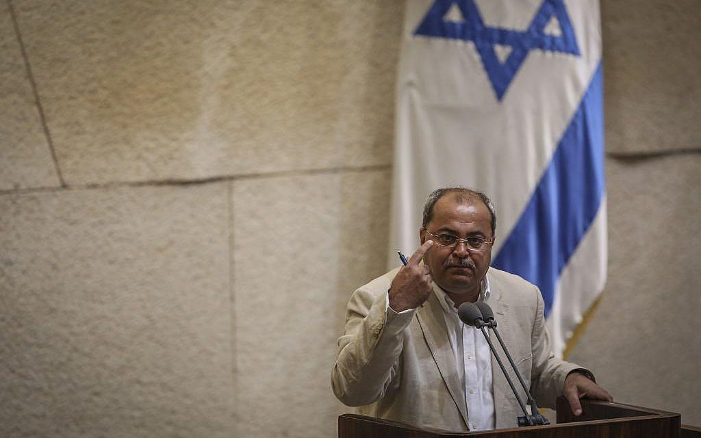 MK Ahmad Tibi addresses the Knesset plenum on May 6, 2015 (Hadas Parush/Flash90)
