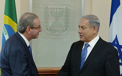 Prime Minister Benjamin Netanyahu meets with Brazilian Congress Speaker Eduardo Cunha, in Jerusalem, on June 03, 2015. (Amos Ben Gershom/GPO)