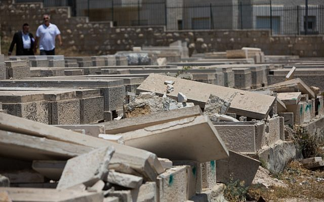 A view of tombstones vandalized in the Mount of Olives cemetery on June 23, 2015 (Yonatan Sindel/Flash90)