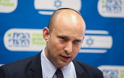 Education Minister and leader of the Jewish Home party Naftali Bennett leads the faction's weekly Jewish meeting at the Knesset, July 20, 2015. (Yonatan Sindel/Flash90)