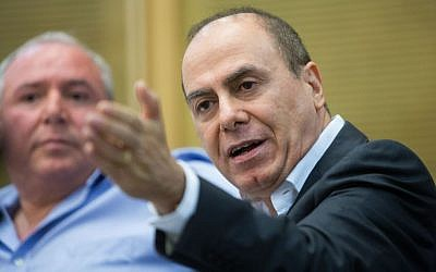 Interior Minister Silvan Shalom speaks during an Immigration and Absorption Committee at the Knesset, Jerusalem, July 27, 2015. (Yonatan Sindel/Flash90)