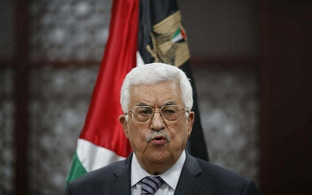 Palestinian Authority President Mahmoud Abbas speaks at a press conference in the West Bank city of Ramallah, July 31, 2015. (Flash90)