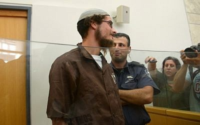 Illustrative: Meir Ettinger,  grandson of Rabbi Meir Kahane, seen at Nazareth Magistrate's court August 04, 2015. (Basel Awidat/Flash90)