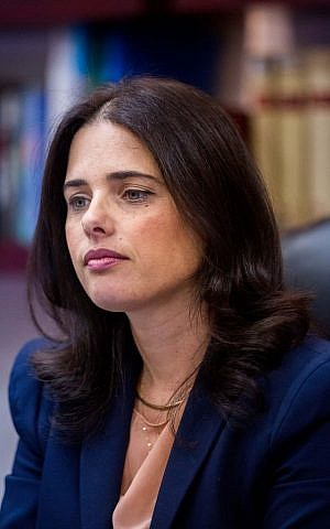 Justice Minister Ayelet Shaked at the Ministry of Justice in Jerusalem, August 9, 2015. (Yonatan Sindel/Flash 90)