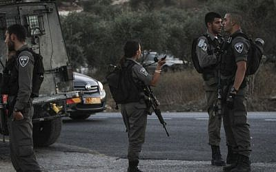 Illustrative photo of Border Police officers at the Tapuah Junction near Nablus, August 15, 2015. (Flash90)