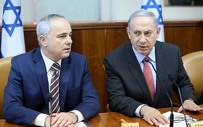 Prime Minister Benjamin Netanyahu (R) and Energy Minister Yuval Steinitz attend the weekly cabinet meeting in Jerusalem on August 16, 2015. (Marc Israel Sellem/POOL)