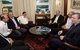 Prime Minister Benjamin Netanyahu meets with representatives of the Joint (Arab) List party to discuss enlarging the budgets for Arab towns in Israel, at the Prime Minister's Office in Jerusalem, on August 31, 2015. (Amos Ben Gershom/GPO)