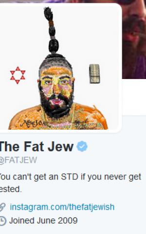 """Twitter account of Josh Ostrovsky, """"The Fat Jew"""" (screen capture via Twitter)"""