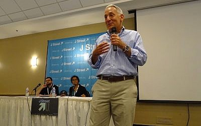 Eric Fingerhut, the president of Hillel International, speaking at J Street U's three-day summer leadership institute at a conference center in Chevy Chase, Maryland, August 17, 2015. (Melissa Apter/JTA)