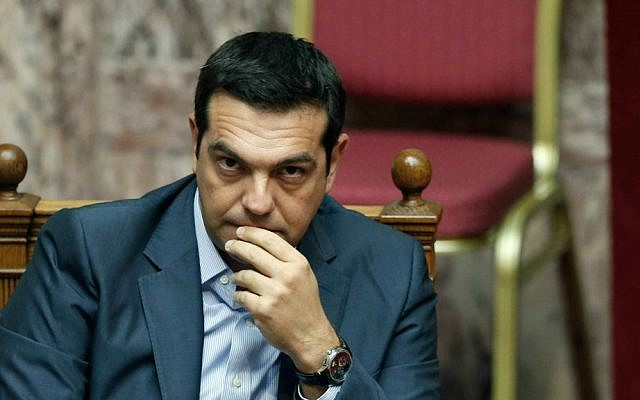 Greek Prime Minister Alexis Tsipras during a parliamentary session in Athens, Friday, Aug. 14, 2015. (AP Photo/Yannis Liakos)