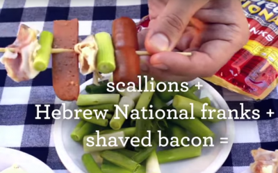 A Hebrew National ad suggesting a recipe, with bacon, for a Hog Wild Stack. (Screenshot: YouTube)