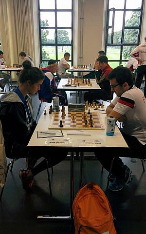 Chess players duke it out at the 2015 European Maccabi Games (Ilan Ben Zion/Times of Israel)