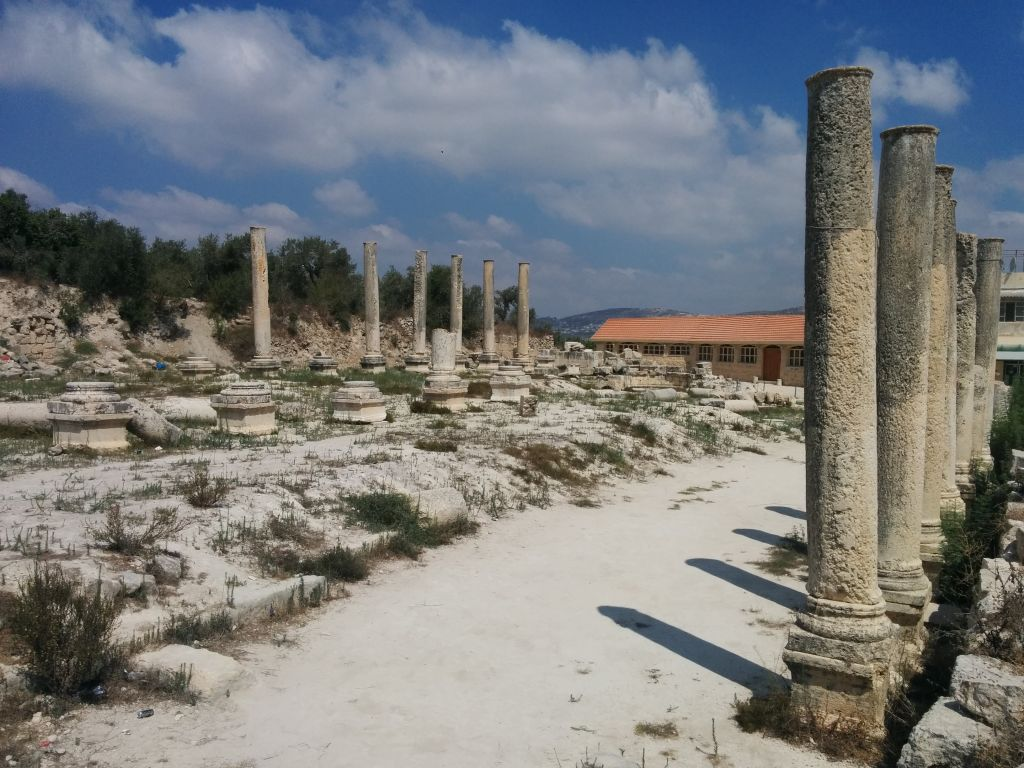 Remains of the Roman basilica at Sebastia in the West Bank (Ilan Ben Zion/Times of Israel staff)
