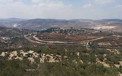 The West Bank settlement of Shavei Shomron, as seen from Sebastia (Ilan Ben Zion/Times of Israel staff)