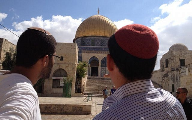 Religious Jews visit Temple Mount, August 25, 2015 (Elhanan Miller/Times of Israel)