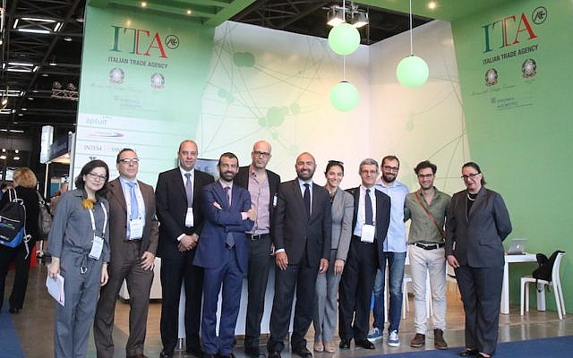 Members of Italy's biotech delegation at May's IATA event in Tel Aviv (Limor Edry)