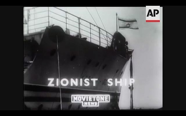 The SS Kedmah, the state of Israel's first official passenger liner, carries Jewish refugees to Palestine (Screenshot of newsreel footage from YouTube)