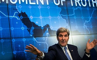 Secretary of State John Kerry speaking in New York City about the Iran deal, August 11, 2015. (Andrew Burton/Getty Images/via JTA)