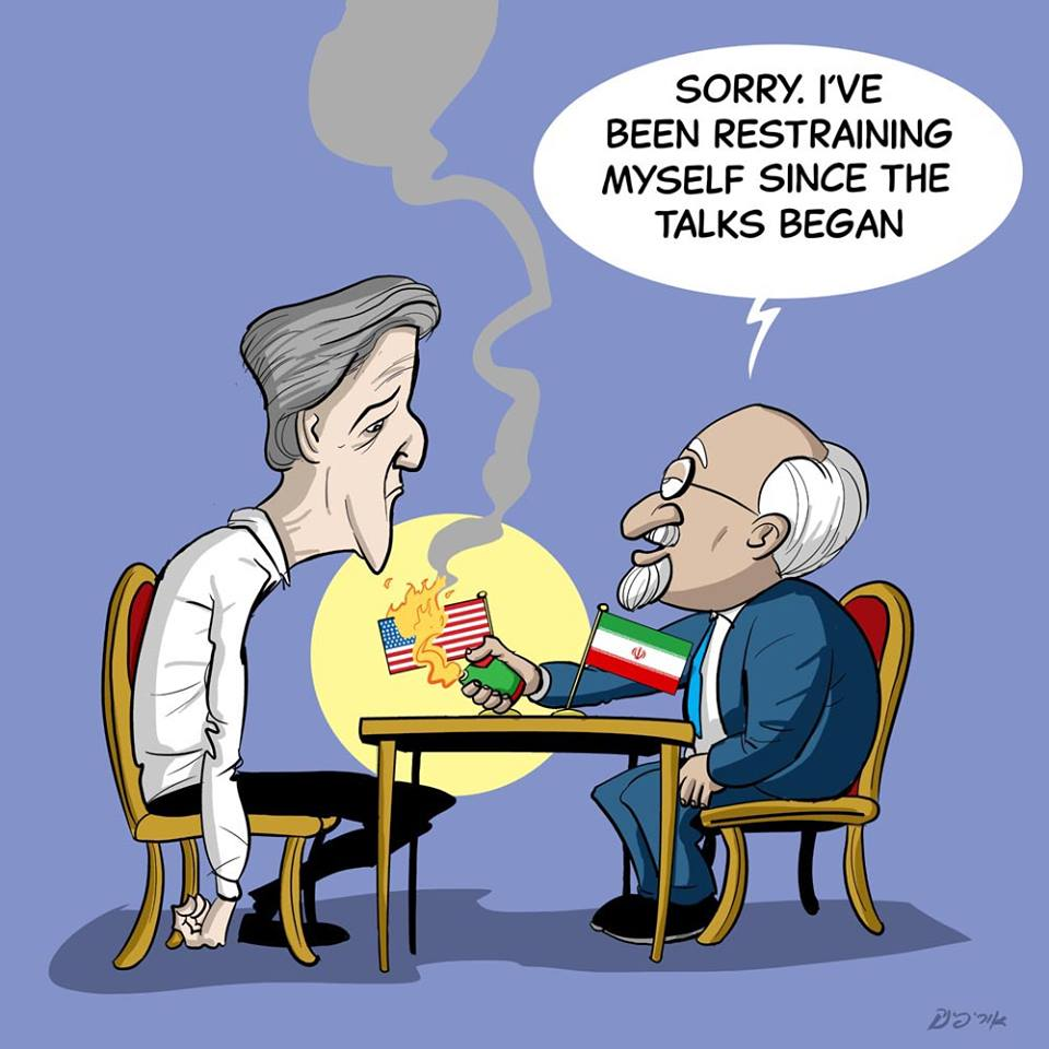 A caricature by Israeli artist Uri Fink posted on the Facebook page of The Israeli Cartoon Project courtesy/Uri Fink