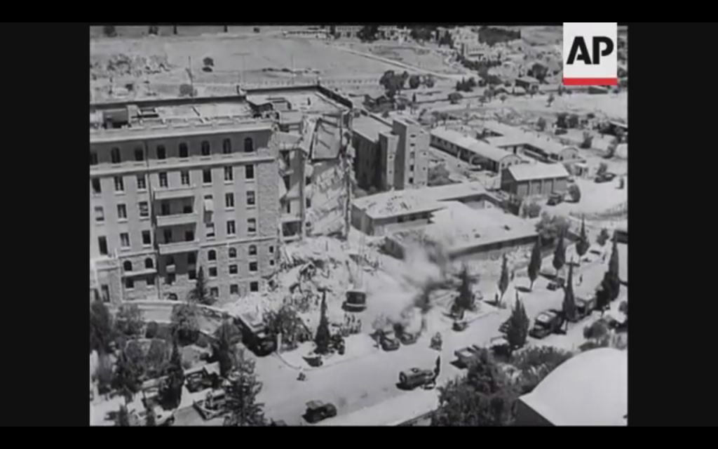 The southern wing of the King David Hotel in Jerusalem following the 1946 terrorist bombing (Screenshot of newsreel footage from YouTube)