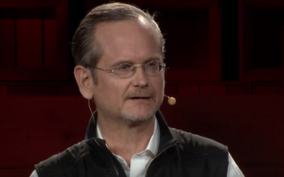 Lawrence Lessig giving a TED talk (screen capture via Youtube)