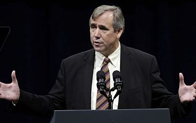 In this Wednesday, October 8, 2014 file photo, US Senator Jeff Merkley speaks during a campaign rally in Portland, Oregon. (Don Ryan/ AP Photo)