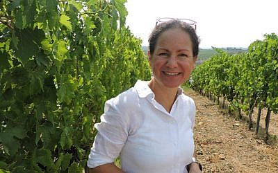 Maria Pellegrini, who owns the winery with her husband, grew up in a winemaking family in southern Italy. But because she isn't Jewish, she can't take part in the winemaking in her own winery. (Ben Sales/JTA)
