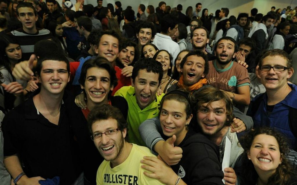 Students and volunteers from around the world celebrate MasaFest at the International Conference Center in Jerusalem, on October 29, 2012. (Louis Fisher/Flash90)