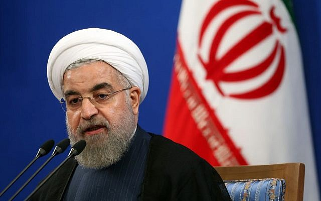 Iranian President Hassan Rouhani speaks during a press conference in Tehran, Iran, August 29, 2015. (AP/Ebrahim Noroozi)