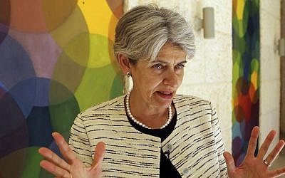 The chief of the UN's education and culture agency, Irina Bokova of Bulgaria, August 21, 2015. (AP/Raad Adayleh)