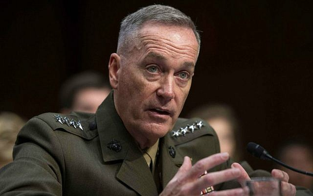 In this July 9, 2015, file photo, then-Marine Corps Commandant Gen. Joseph Dunford, Jr., testifies during his Senate Armed Services Committee confirmation hearing to become the Chairman of the Joint Chiefs of Staff, on Capitol Hill in Washington. (AP Photo/Cliff Owen, File)
