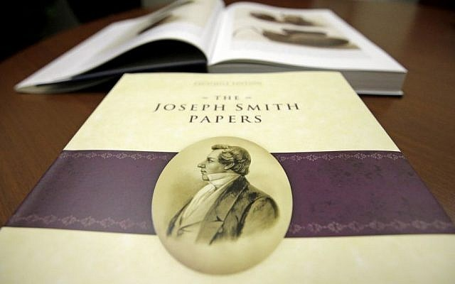 The third volume of the Joseph Smith papers, which includes the printer's manuscript of the Book of Mormon, shown following a news conference Tuesday, Aug. 4, 2015, in Salt Lake City. (AP/Rick Bowmer)