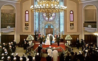 Illustrative photo of a Jewish wedding at the Neve Shalom synagogue in Istanbul, Turkey. (courtesy Turkish Jewish community)