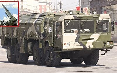 The Russian 9K720 Iskander missile system carrier. Inset: an Iskander missile in launch position. (CC BY-SA 3.0 Aleksey Toritsyn, www.defensetech.org/Wikipedia)