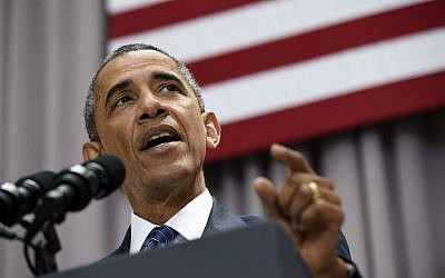 President Barack Obama speaks about the nuclear deal with Iran, Wednesday, Aug. 5, 2015, at American University in Washington. (AP Photo/Susan Walsh)