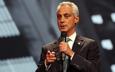 Chicago Mayor Rahm Emanuel on August 13, 2015 (JTA/Tasos Katopodis/Getty Images for 100,000 Opportunities Initiative)