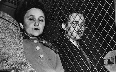 Julius and Ethel Rosenberg en route to the Federal House of Detention, after they had been found guilty of nuclear espionage. (Keystone/Getty Images/JTA)