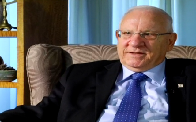 President Reuven Rivlin speaks to Channel 10, August 7, 2015. (screen capture: Channel 10)