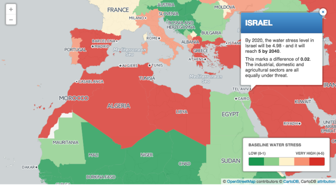 Middle east israel to be water scarce by 2040 report the map showing israel and other world water stress levels openstreetmap cartodb gumiabroncs Gallery