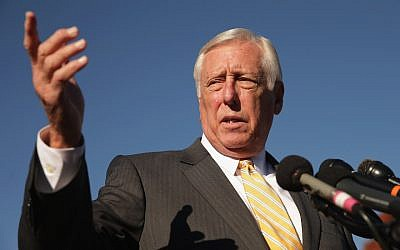 Steny Hoyer speaking at a news conference at the US Capitol in Washington, DC, on November 12, 2014. (JTA/Chip Somodevilla/Getty Images)