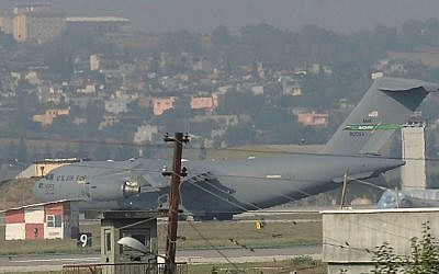 A United States Air Force cargo plane maneuvers on the runway after it landed at the Incirlik Air Base, in Adana, southern Turkey, Sunday, Aug. 9, 2015. (AP Photo)