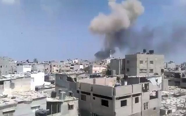 Illustrative image of an explosion in the Gaza Strip on August 6, 2015 (screen capture: Ebrahim Jihad Yousif/Facebook)