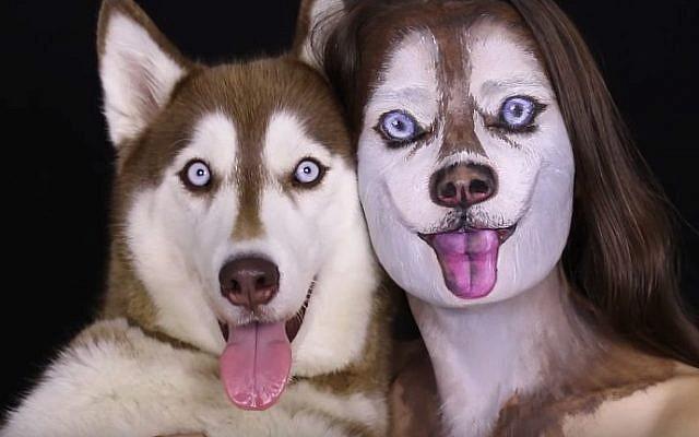 Makeup artist Ilana Kolihanov and her dog Ivy (YouTube screen grab)