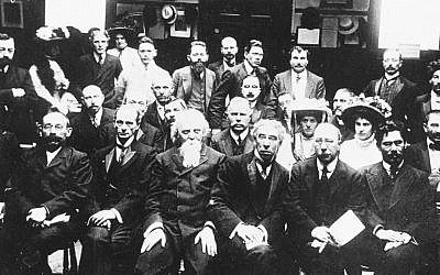 Israel Zangwill (third from right in the front row) with a group of early Zionist thinkers (Copyright Jewish Museum, London)