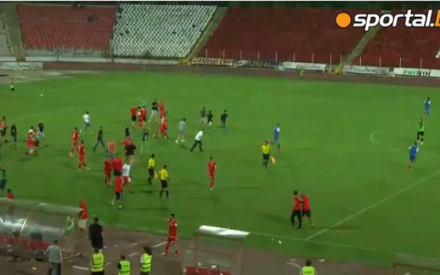 Israeli soccer players run off the field as Bulgarian fans attack them during a match in Sofia on August 2, 2015 (Screen capture via YouTube)