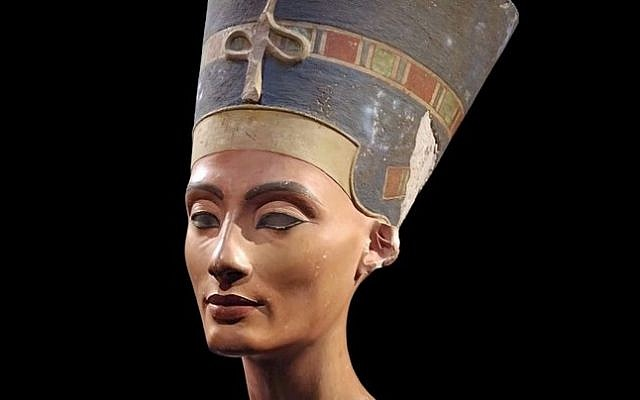 File: The 3,300-year-old bust of Queen Nefertiti, discovered in Egypt in 1912 (YouTube screen capture)