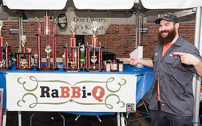 "Mendel Segal, aka ""RaBBi-Q, cleaned up at the Chicago Kosher BBQ Competition with first places in chicken, brisket and beans on his way to being the grand champion, June 2015. (Courtesy of Mendel Segal)"