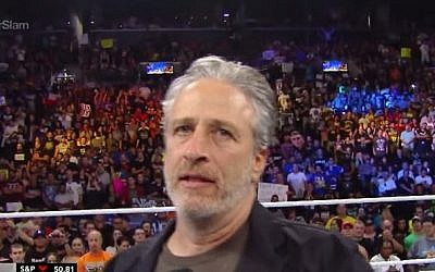 Jon Stewart at the WWE SummerSlam (YouTube screen capture)